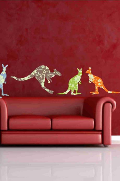 Adorable Kangaroo Wall Fabric Decals in Floral Prints for Children