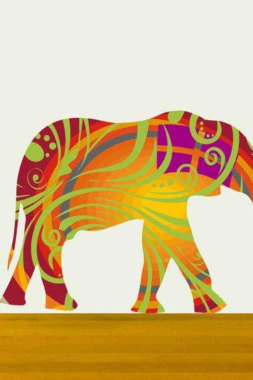 Nursery Decor Elephant Fabric Wall Decals in Summer colors