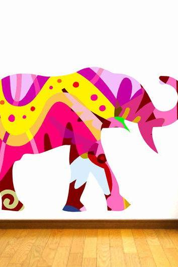 Colorful Elephant Fabric Wall Decal