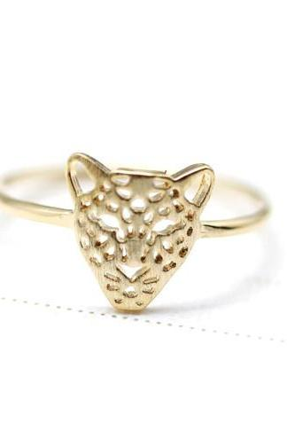 Cut-Out Animal Leopard Panther Cocktail Ring in gold
