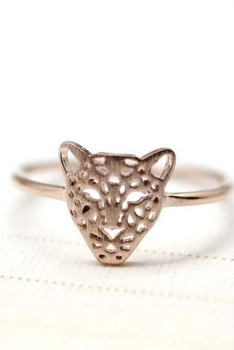 Cut-Out Animal Leopard Panther Cocktail Ring in rose gold