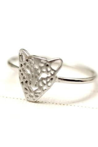 Cut-Out Animal Leopard Panther Cocktail Ring in silver