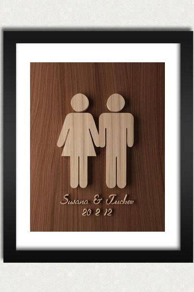 Personalized Couple Wedding / Engagement Wood Engraved Sign Printable - Digital Download - Size 8x10 - Perfect Gift Idea