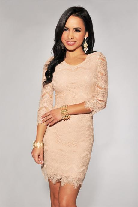 Fashion Pink Slim Lace Dress