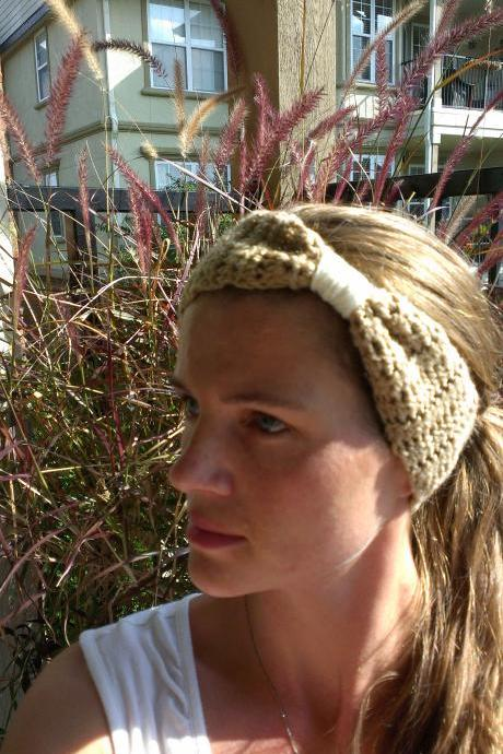Crochet Head Warmer Sand and Cream Do Bop Darling