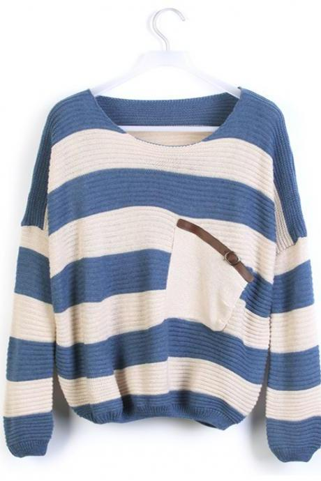 Blue Striped Bat Long Sleeve Loose Sweater