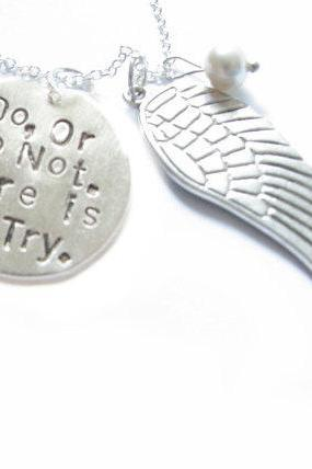 Angel Wing Hand Stamped Necklace Anyway you want Personalized engraved gift birthday Star Wars