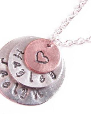 Triple Hand Stamped Necklace Personalized engraved Pendant birthday wedding mother sister friend