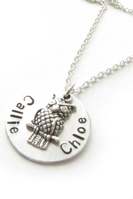 Owl Hand Stamped Necklace Personalized Jewelry for mom mother sister birthday gift wedding