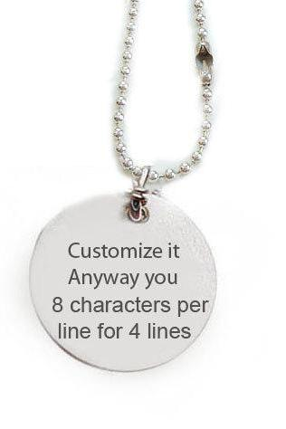 Hand Stamped Customize Necklace Personalized it anyway you want pendant engrave gift birthday wedding