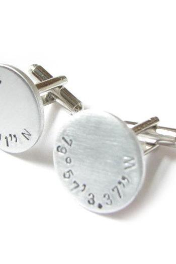 Round Latitude Longitude Cufflinks Personalized Hand Stamped gift for men father cuff links birthday wedding graduation