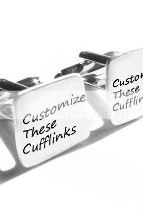 Customize Men Cufflinks Hand Stamped personalized Wedding gift engraved cuff links birthday anniversary