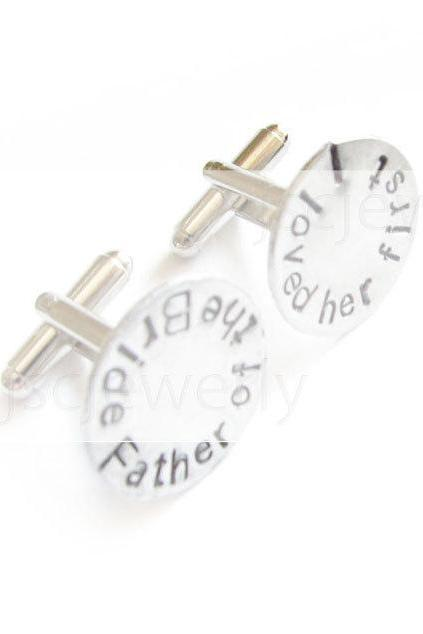 Sterling Wedding Cufflinks Father of the Bride Hand Stamped Men Silver Cuff Links Personalized engraved Keepsake Gift