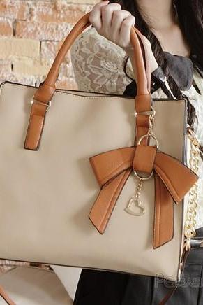 Elegant Cream Colorful Bow Handbag