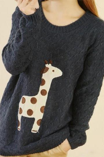 Blue Super Adorable Cartoon Giraffe Loose Pullover Sweater