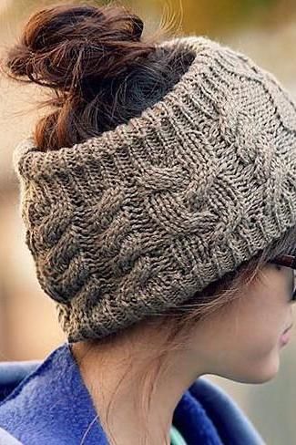 The Fashion Serratula Wool Hair Band Knitted Headband-Grey