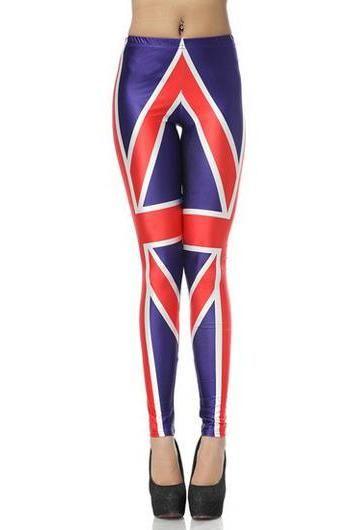 Fashion Fitted Middle Waist British Flag Leggings