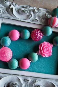 Chunky Pink & Teal 'Cotton Candy' Bubblegum Bead Toddler Necklace