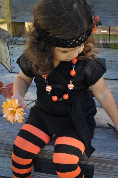 Orange and Black 'Trick or Treat' Toddler Necklace & Hair Clip Set