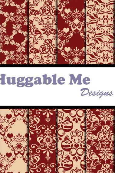 Burgundy Paper - Burgundy and Tan Damask Paper for Scrapbook, Wedding, Invitation, Cards 12x12 - HMD00086