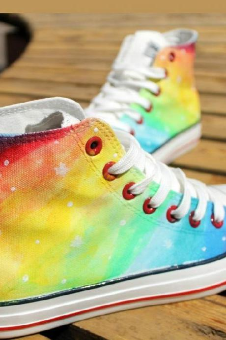 Hand-painted rainbow gradient Harajuku Star high-top canvas shoes JCAGA