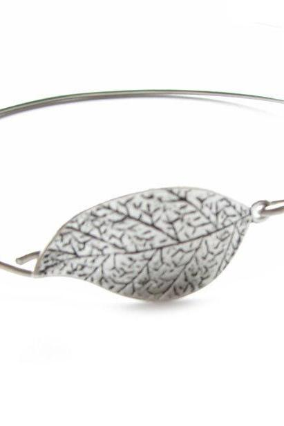 Leaf Bracelet silver Wire Wrapped or leather Bangle Natural lovers gift for her