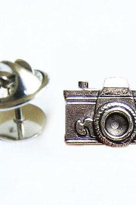 Camera Tie Tack Silver Lapel Pin Accessory Gift for Groom Man Father Dad Groomsman
