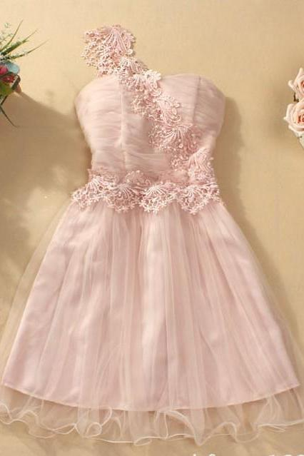 Fashion New Cute One Shoulder Strapless Dress - Pink