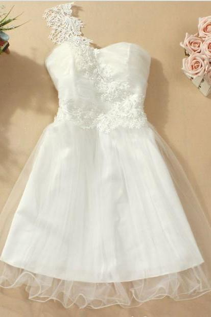 Fashion New Cute One Shoulder Strapless Dress - White