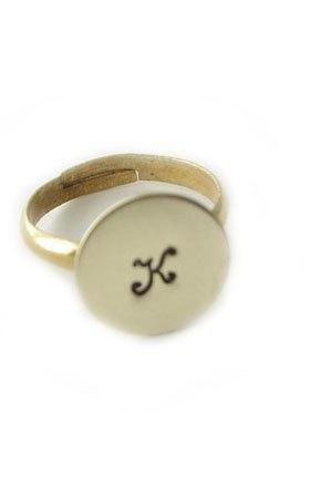 Personalized Initial Ring Brass Hand Stamped Jewelry birthday gift engraved