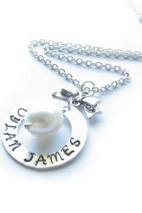 Silver Bow Hand Stamped Necklace Customize Washer Pendant Jewelry engraved gift birthday wedding