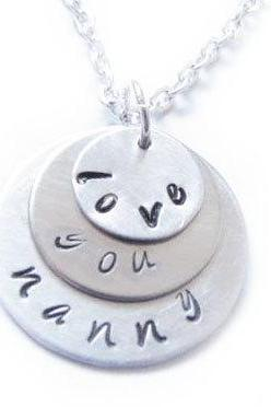 Sterling Triple Hand Stamped Necklace Silver Customize Personalized Engraved Pendant Birthday Wedding Gift