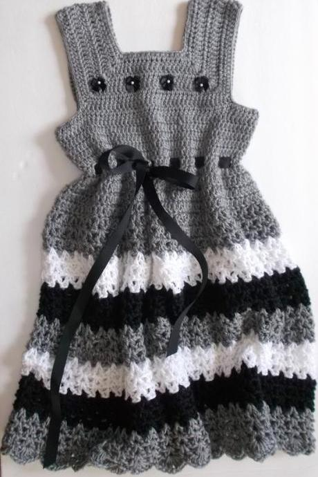 Grey and Black Crochet Girls Dress