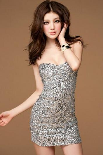 Seductive Strapless Silver Sequin Decoration Club Dress for Lady
