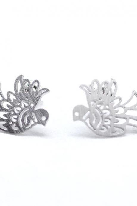 Cut-out Peace Dove Bird Earrings in Silver