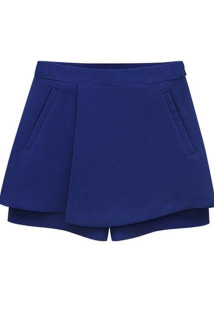 Special Clipping Mid Waist Summer Loose Shorts - Blue