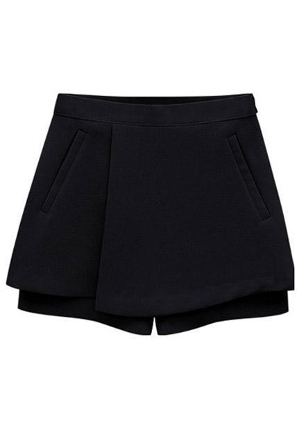 Special Clipping Mid Waist Summer Loose Shorts - Black