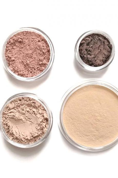 Mineral Makeup Starter Set - Choose your own shades // Foundation, Sheer Powder, Blush, Eyeshadow //