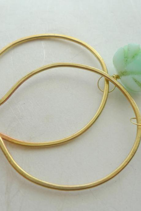 Jade Moonstone Sterling Silver and Brass Delicate Hoops. Nature Inspired Fine Jewelry.