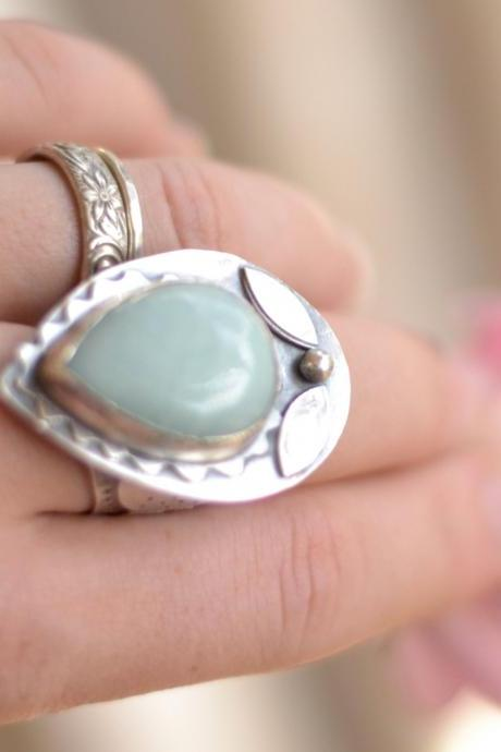 Handmade Sterling Silver Metalwork Ring With A Tear Drop Amazonite Cabochon Detailed Embellished Band All Hand Cut and Forged Sz 8