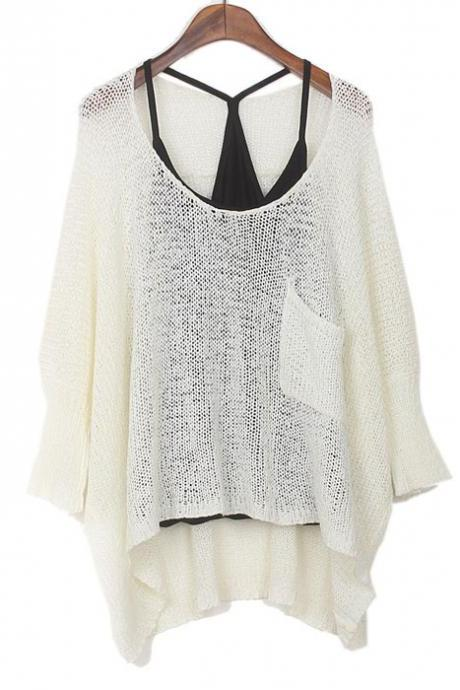 Fashion White Bat Sleeved Sweater