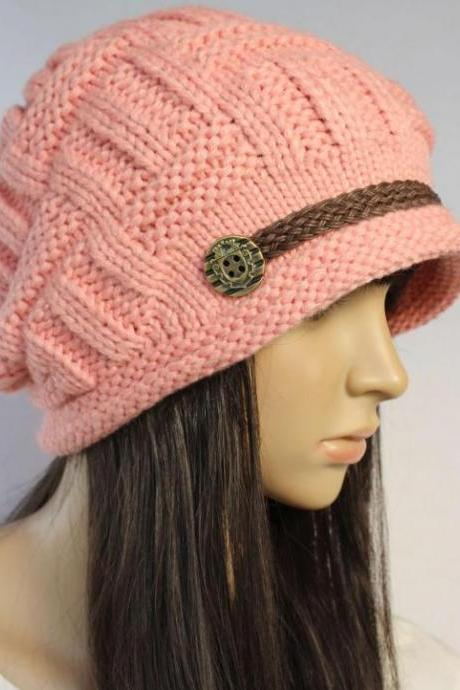 Pink Slouchy knitted Hat Cap Beanie