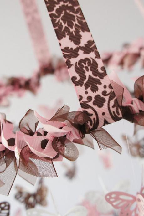 Butterfly Mobile - Pink, Brown and White Nursery Mobile, Baby Shower Gift, Photographer Prop