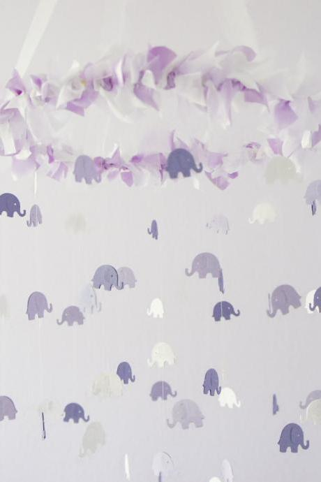 Baby Mobile- Lavender Elephant Mobile, Baby Shower Gift, Photographer Prop