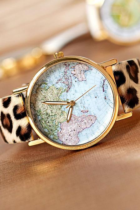 Cool Leopard Print World Map Watch