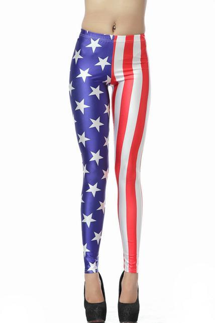 Woman American Flag Pattern Fitted Leggings