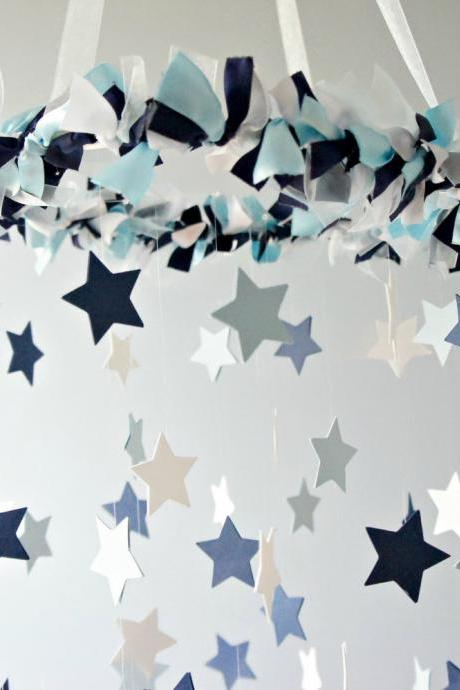 Star Mobile- Blue Nursery Mobile, Shower Gift, Photographer Prop