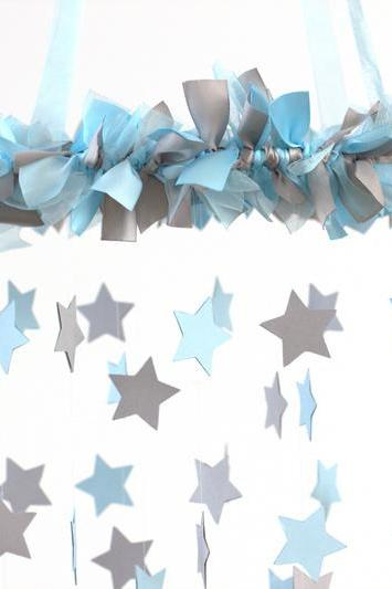 Boy Nursery Decor - Nursery Mobile Stars in Baby Blue & Gray