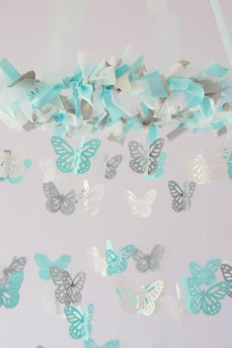 Aqua, White & Gray Nursery Butterfly Mobile, Photography Prop, Baby Shower Gift