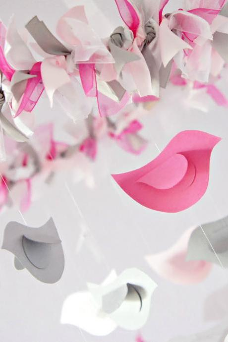 Pink & Gray Bird Nursery Mobile, Shower Gift, Photographer Prop
